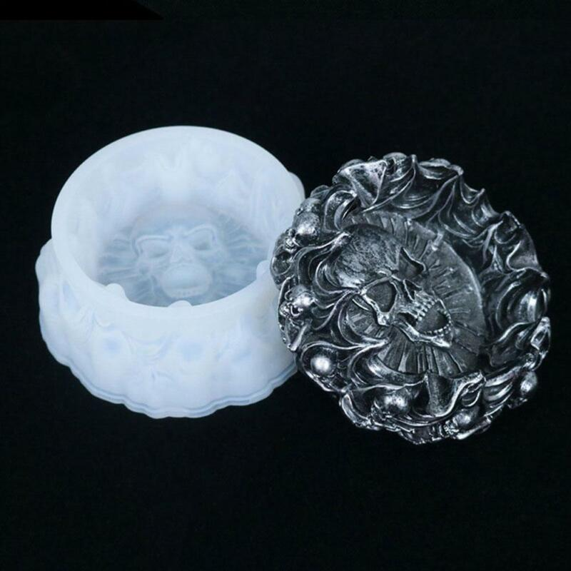 DIY Silicone Crystal Epoxy Mould Crafts Tool Skull Ashtray Mold for Resin ☆DFN
