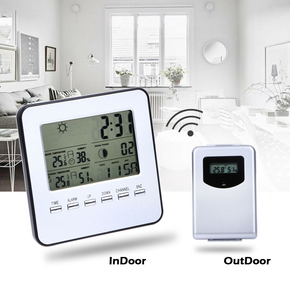 Digital LCD Wireless Indoor/Outdoor Weather Station Sensor Temperature Humidity