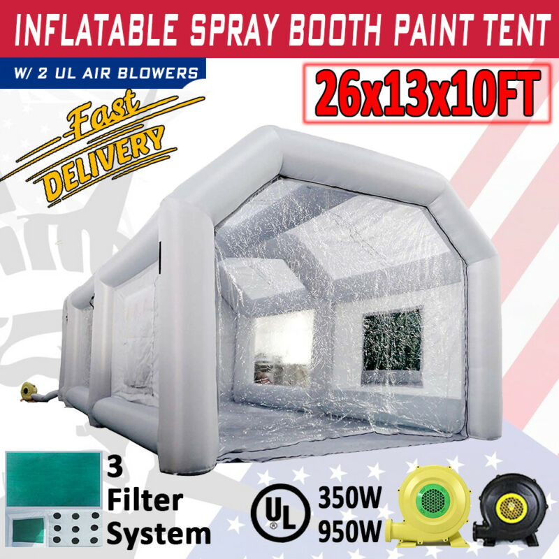 Inflatable Spray Paint Booth W/ Blower 26x13x10Ft Home Garage Car DIY Job Tent