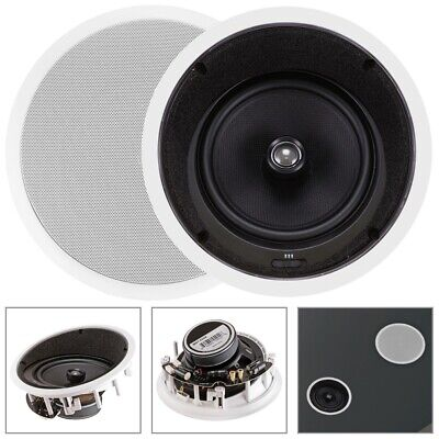 """Pair 160W 2 Way 8"""" In Ceiling Wall Audio Speakers 8 ohms with Angled Drivers"""