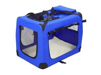 Dog Pet Carrier LIKE NEW Fabric Portable Foldable Kennel Crate cage X Large,82 X 58 X 58cm, Blue