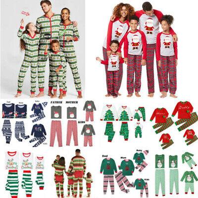 US Stock Family Matching Adult Women Kid Christmas Pyjamas Nightwear Pajamas PJs ()