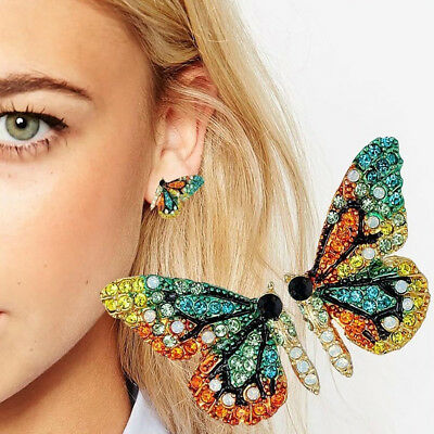 HOT Women Multicolor Rhinestone Butterfly Ear Stud Earrings Party Jewelry Conven