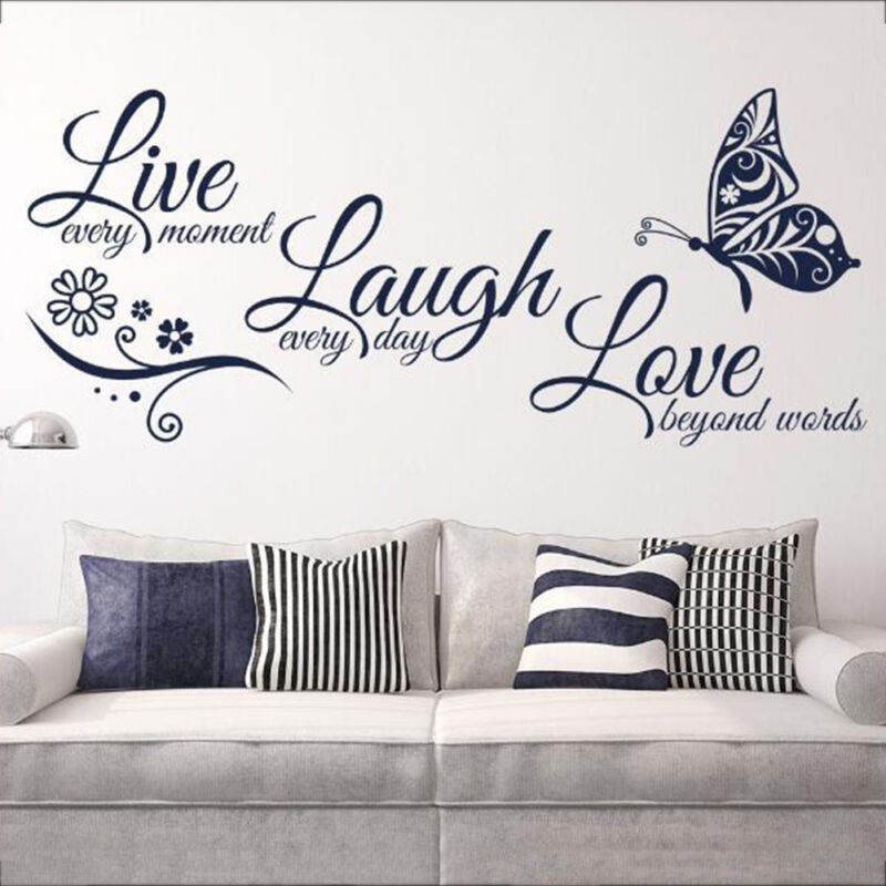 Home Decoration - Live Laugh Love Quotes Butterfly Wall Stickers Art Room Decal Home Room Decor