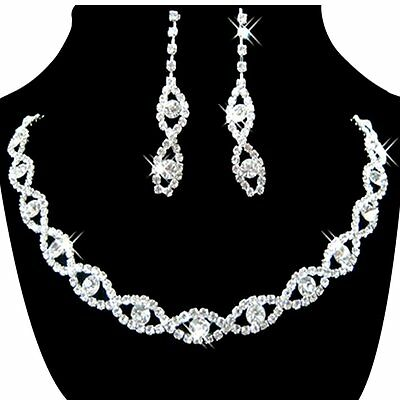 Women's Jewelry Set Bridal Wedding 8 Shape Crystal Rhinestone Necklace Earrings