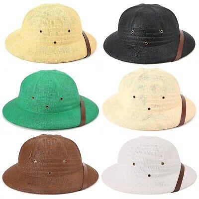 Straw Pith Helmet (Adults Straw Cap Safari Jungle Hunter Explorer Pith Helmet Hat Film Play Props)