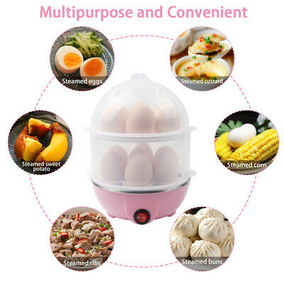 Electric Egg Cooker Big Capacity Double Layer Boil Auto Shut Off 14...