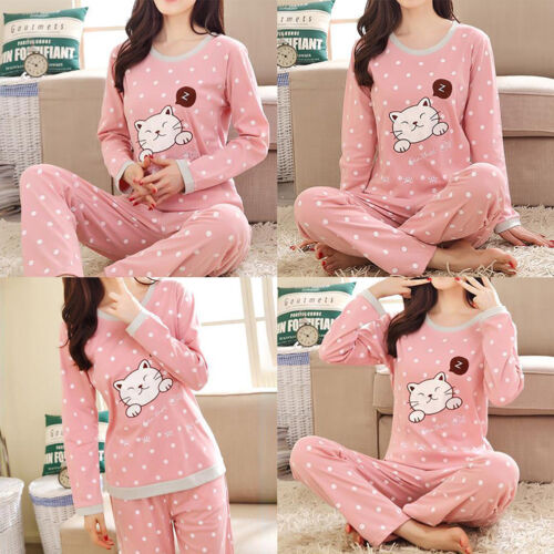 Cute Women Girl Cartoon Cotton Pajama Sets Comfortable Cotto