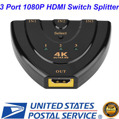 1080P HDMI Switch Splitter Switcher HUB 3 Port  for DVD TV STB (No Cable)