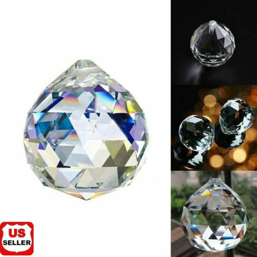 K9 FENG SHUI HANGING CRYSTAL BALL Clear Faceted Sphere Sun Catcher Rainbow Prism Collectibles