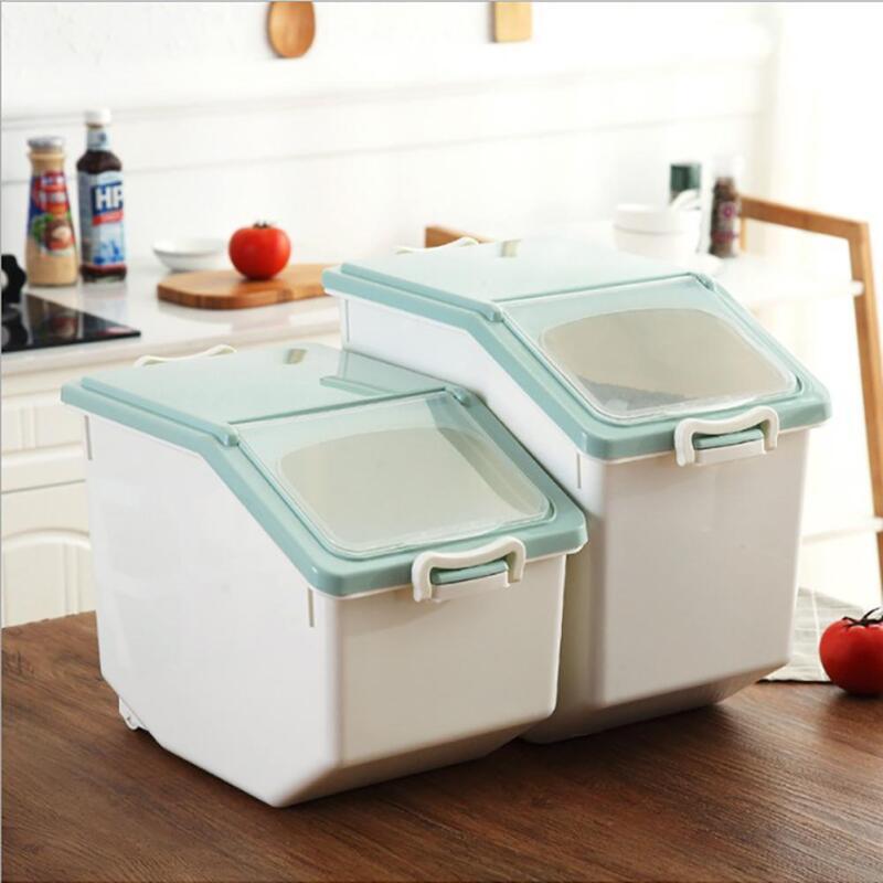 Details about 10/15KG Rice Dispenser Container Kitchen Plastic Food Grain  Sealed Storage Box