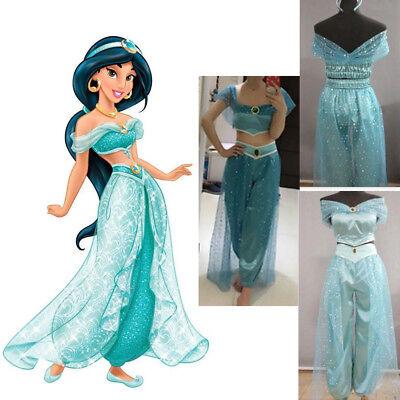 Disney Prinzessin Aladdin Anzüge Jasmine Damen Kostüm Cosplay Party Karneval - Blau Prinzessin Jasmin Kostüm