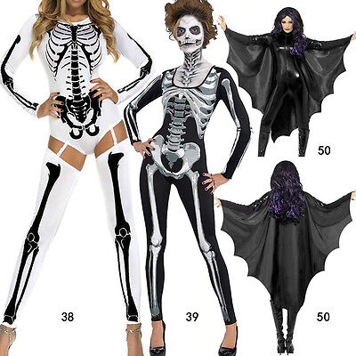 Hot Vampire Bat Wings Costume Adult Halloween Black Cape Ladies Fancy Dress