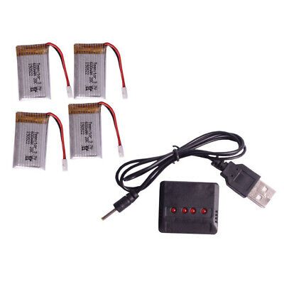 4Pcs 3.7V 600mAh Lipo Battery+ Charger for Syma X5C-1 Parts RC Drone