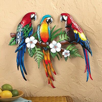 Tropical Metal Wall Art colorful parrot birds tropical flowers metal wall art hanging home