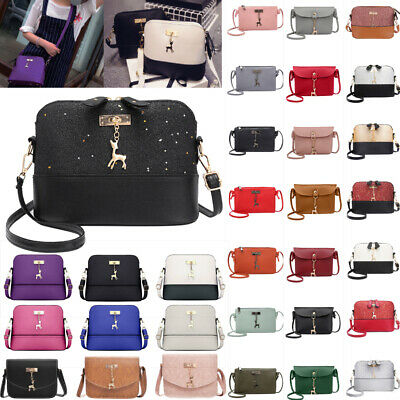 Women Messenger Crossbody Handbag PU Leather Simple Mini Shoulder Bag Shell Bags