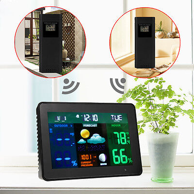 2Sensor In/Outdoor Wireless Weather Forecast Station Thermometer Humidity Clock