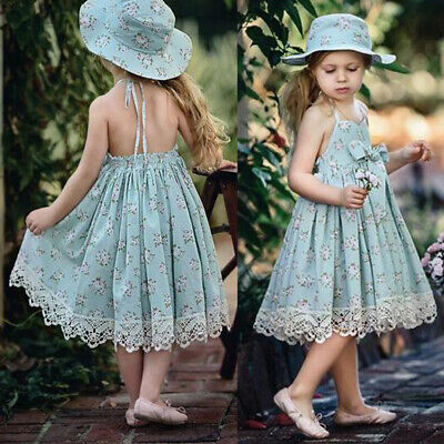 Little Princess Girl Sleeveless Floral Print Lace Bowknot Halter Dress Welcome Baby