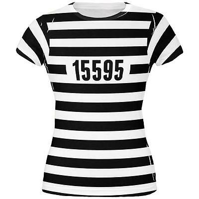 Halloween Prisoner Old Time Striped Costume All Over Juniors T Shirt