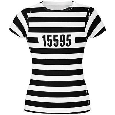 Halloween Prisoner Old Time Striped Costume All Over Juniors T Shirt