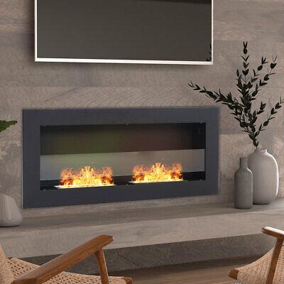 Black 900x400mm Bio Ethanol Fireplace Wall/Inset Biofire Fire Burner Living Room