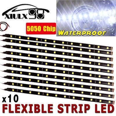 10X 30CM 12V Pure White 6000K Motor Truck Flexible LED Strip Light Waterproof US