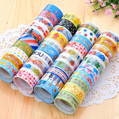 10pcs Cartoon Washi Tape Set Masking Scrapbook Decorative Paper Adhesive Sticker