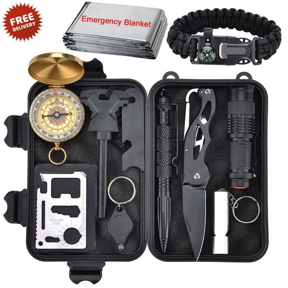 Outdoor Survival Tools, 10 in 1 Multi-Purpose Emergency Surv
