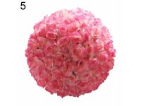 25cm Artificial Flowers Rose Flower Balls Topiary Hanging Basket Plant Home-champagne hot pink