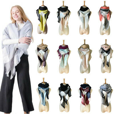 (New Women Plaid Triangle Blanket Scarf Checked Wrap Cashmere Shawl Pashmina Warm)
