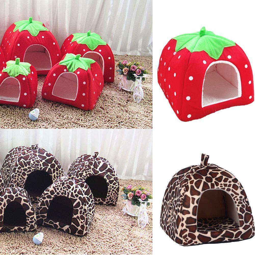 Soft Strawberry Pet Dog Cat Bed House Kennel Doggy Fashion Cushion Pad Basket