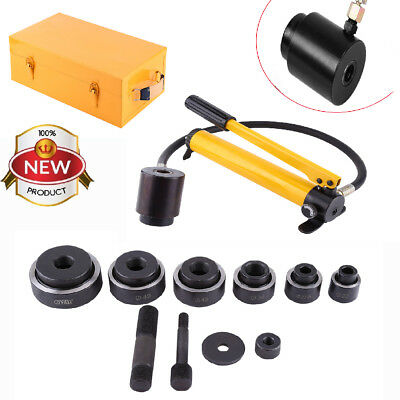 15 Ton Hydraulic Metal Steel Plate Hole Punch Set Hand Pump W10 Dies 16-101mm