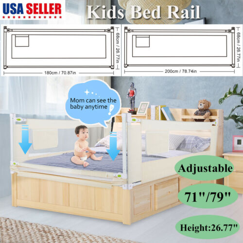 1.8/2M Portable Foldable Children Bed Rail Toddler Elderly C