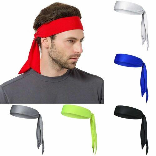Men Stretch Head Tie Headband Sweatband Sports Basketball Ha