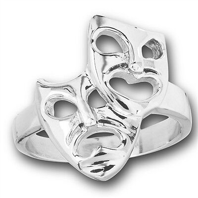 Happy Sad Comedy Tragedy Mask Face Ring New Stainless Steel Band Sizes - Comedy Tragedy Ring