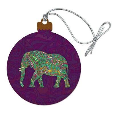 Mosaic Elephant Wood Christmas Tree Holiday Ornament ()