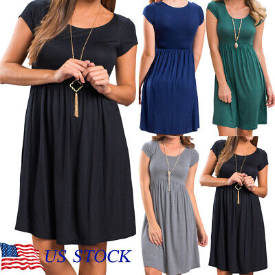 Fashion Womens Maternity Dress O-neck Short Sleeve Slim Pregnancy Dress US -