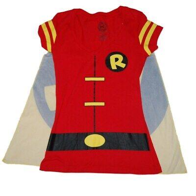 Womens Batman Shirt With Cape (DC Comics Batman Junior Womens Red Robin Cape T-Shirt Halloween Tee)