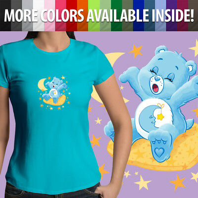 Care Bears Bedtime Bear Sleepy Moon Stars Cartoon Girls Juniors Tee T-Shirt Top (Sleepy Bear Tee)