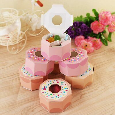 50× Pink Hexagon Gift Box Donut Party Paper Candy Box Kids Birthday Wedding Deco - Pink Gift Box