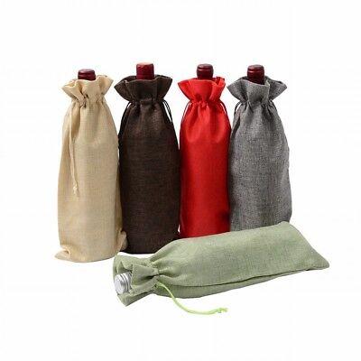 Hot Rustic Natural Jute Hemp Burlap Drawstring Bag Wine Bottle Decor Gift Cover Bottle Jute Wine Bag