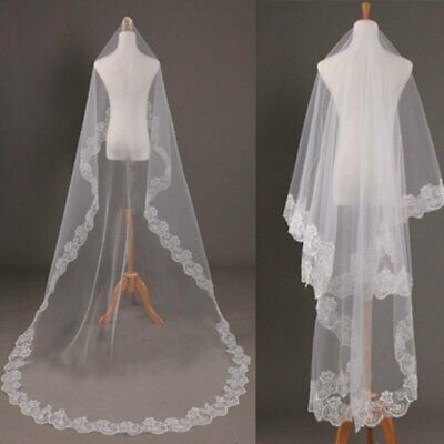 New 3M 1 Layer White Cathedral Length Lace Edge Bride Wedding Bridal Veil US