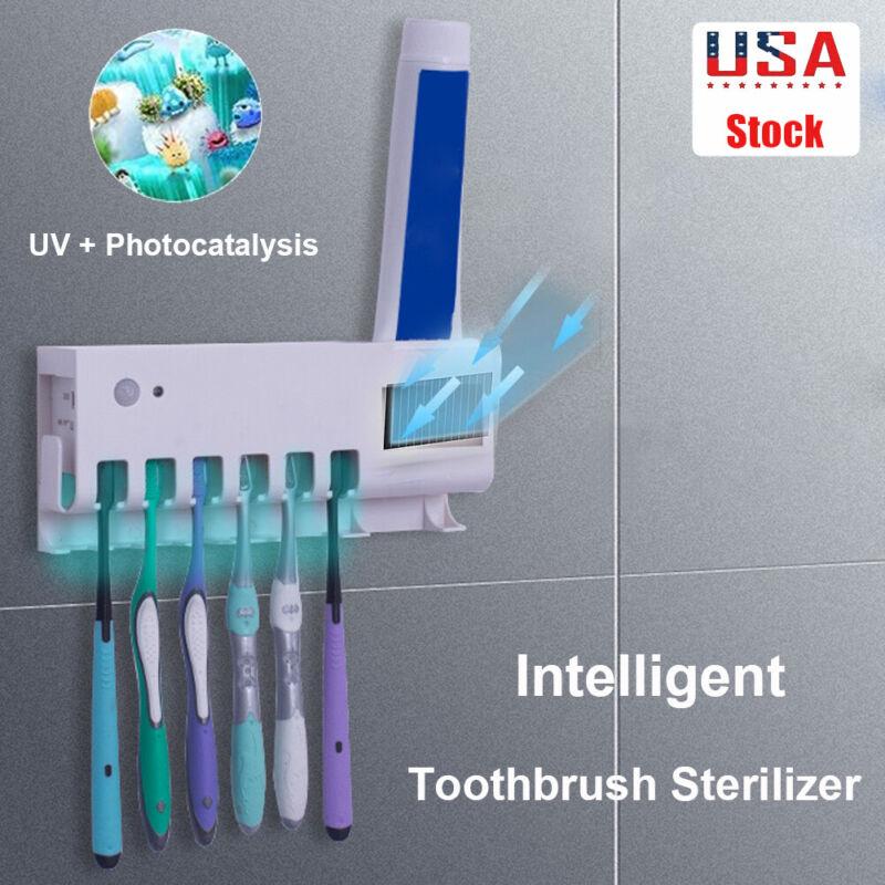 Light Toothbrush Holder Set Cleaner Wall Mount Bathroom Toothpaste Dispenser