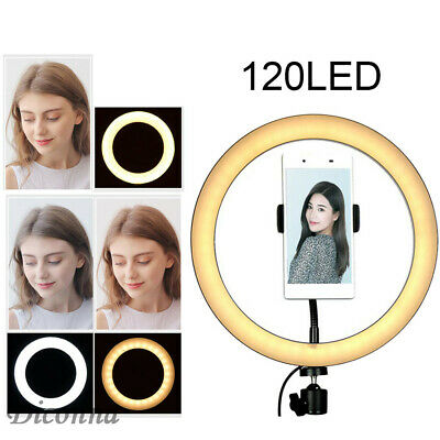 """10"""" LED Ring Light 3000-6500K Dimmable Lighting USB Cable for Makeup Selfie"""