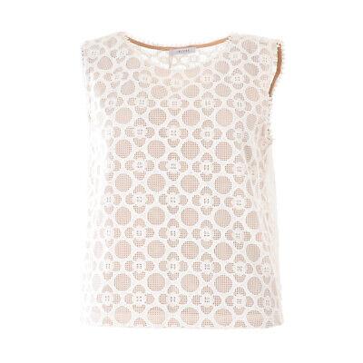 iBLUES MAX MARA Top White Crochet Sleeveless Size 42 / UK 10 RRP £130 BG 374