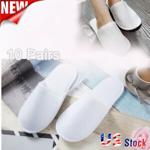 2b4a13418746 10 Pairs Lot Disposable Closed Toe Guest Slippers Terry Hotel SPA Slippers  Shoes