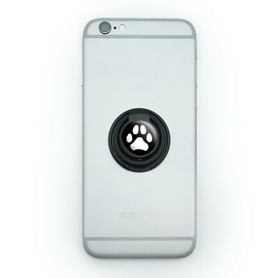 Paw Print Dog Cat White on Black Mobile Phone Ring Holder Stand