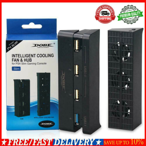Cooling Fan+4 Ports USB HUB Accessories for Sony PlayStation 4 PS4 Slim Console