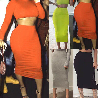 Muslim Thin Skirt Bodycon Slim High Waist Stretch Long Maxi Women Pencil -