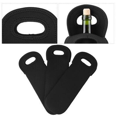 3pcs Neoprene Single Bottle Cooler Wine Tote Bag Protector Sleeve Holder Black Bottle Neoprene Wine Tote Bag